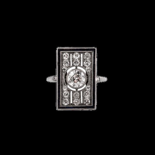 1920s diamond sapphire rectangular ring - image 1