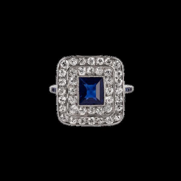 1920s sapphire diamond ring - image 1