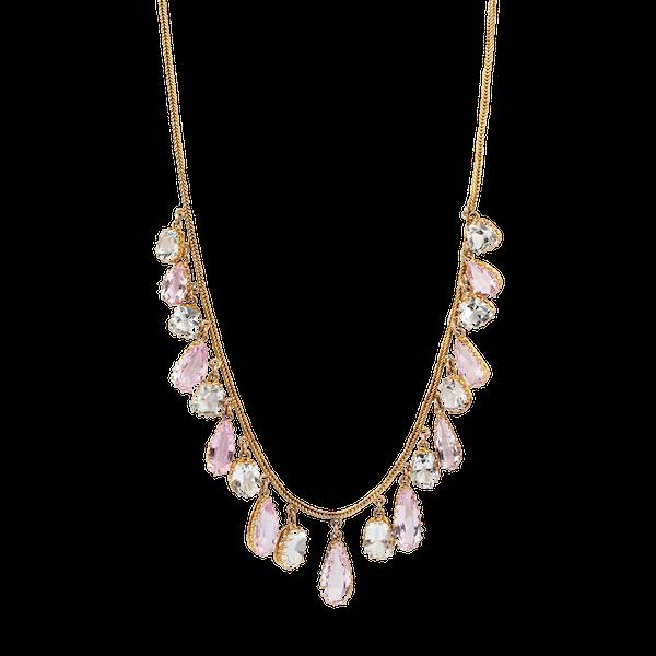 Pink topaz and aquamarine drop necklace - image 1