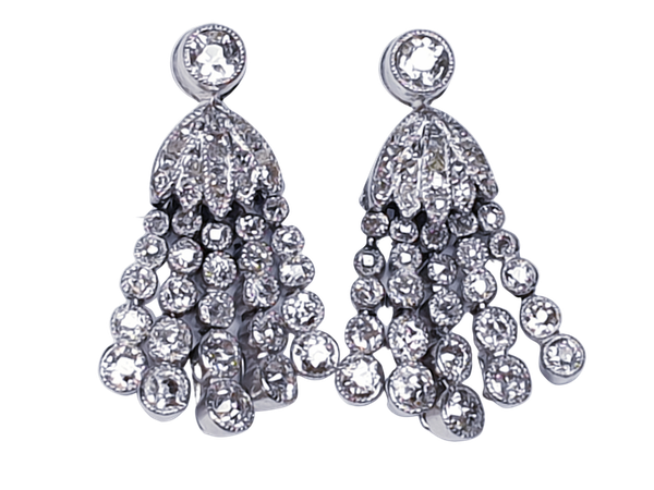 Pair of belle epoque diamond tassel drop earrings  DBGEMS - image 1