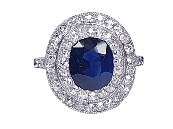 Belle epoque sapphire and diamond engagement ring  DBGEMS - image 1