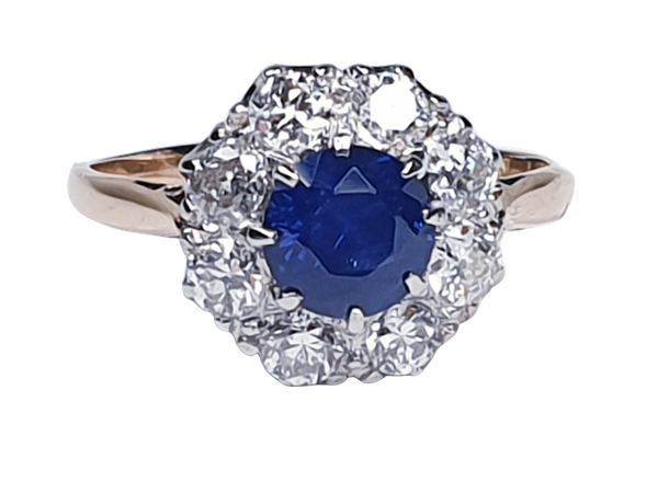 Sapphire and diamond cluster engagement ring 4764   DBGEMS - image 1