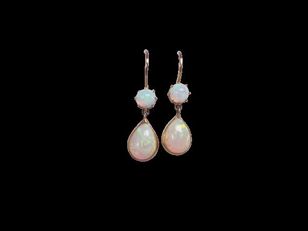 Antique opal drop earrings - image 1