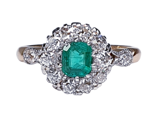 Antique emerald and diamond cluster ring 4772   DBGEMS - image 1