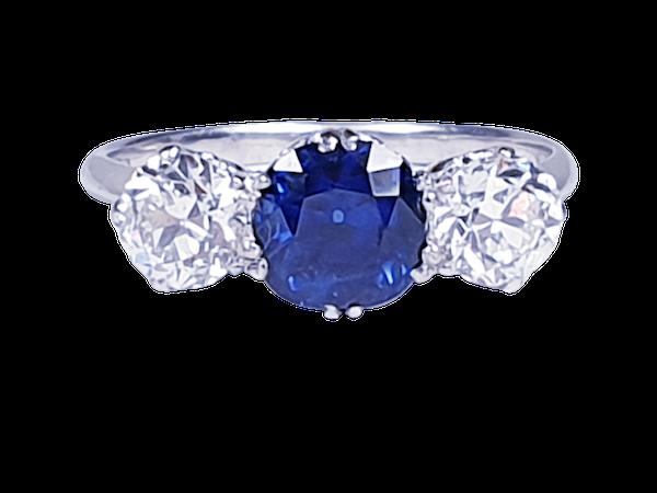 Art deco sapphire and diamond engagement ring 4775    DBGEMS - image 1