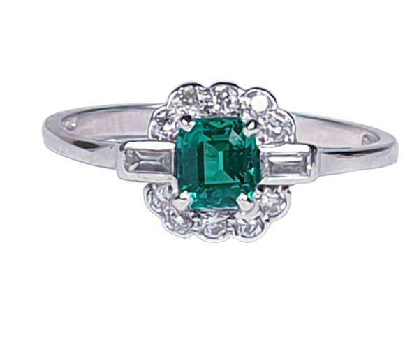 Art deco gem emerald and diamond engagement ring 4778    DBGEMS - image 1