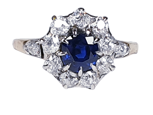 Antique sapphire and diamond engagement ring 4780   DBGEMS - image 1