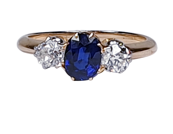 Antique sapphire and diamond engagement ring 4777   DBGEMS - image 1