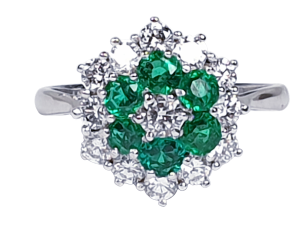 Emerald and diamond cluster ring 4773   DBGEMS - image 1