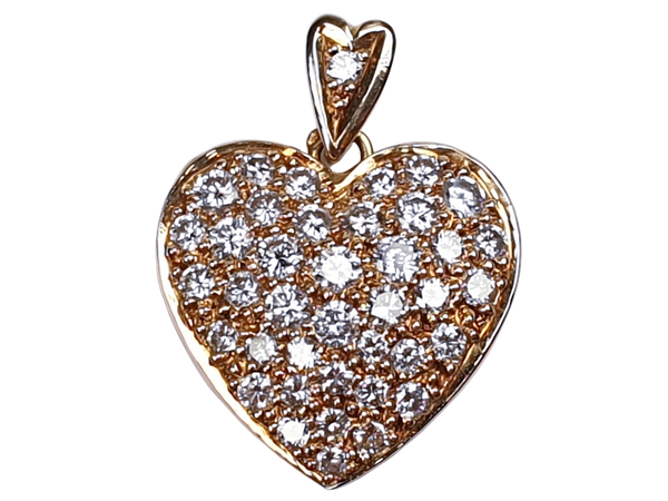 French 18ct gold and pave diamond heart  DBGEMS - image 1
