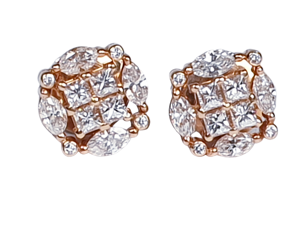Marquise and princess cut diamond earrings - image 1