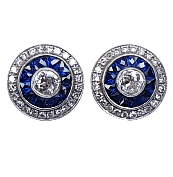 Sapphire and diamond target earrings  DBGEMS - image 1