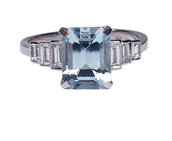 Aquamarine and Baguette Diamond Ring 4759   DBGEMS - image 1