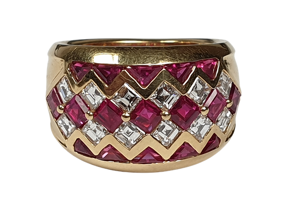 Ruby and diamond dress ring 4443   DBGEMS - image 1