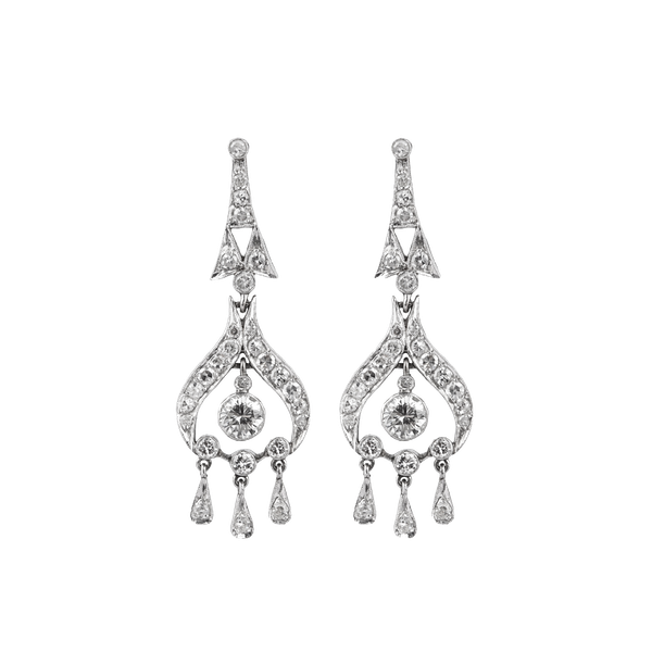 Art Deco Diamond Drop Earrings  DBGEMS - image 1