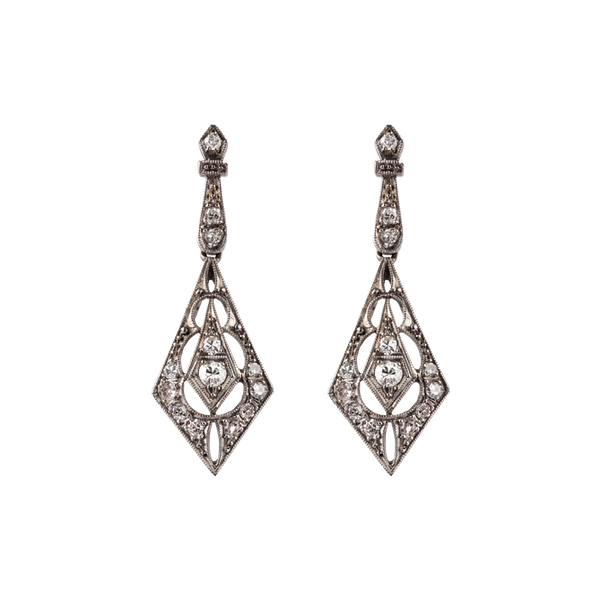 Antique diamond wedding earrings - image 1