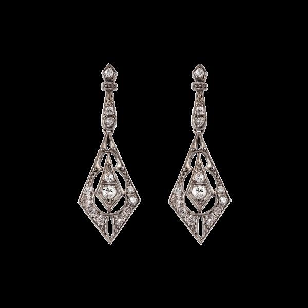 Antique diamond wedding earrings sku 4448  DBGEMS - image 1