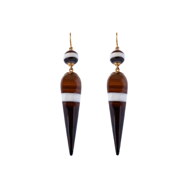 Antique banded agate drop earrings  DBGEMS - image 1