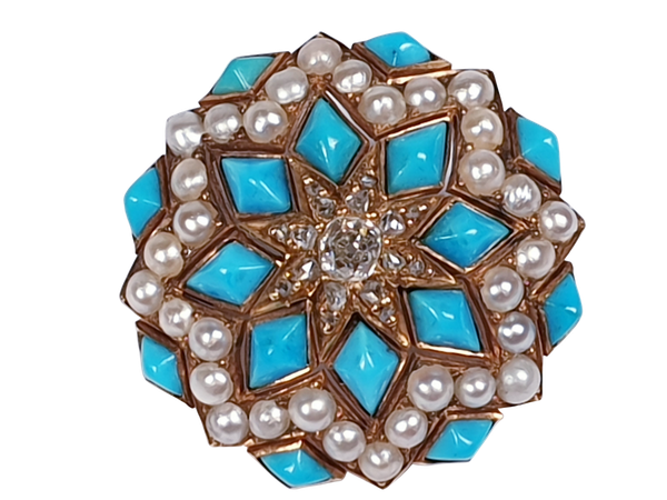 Stunning Victorian Turquoise, Natural Pearl and Diamond Pin - image 1