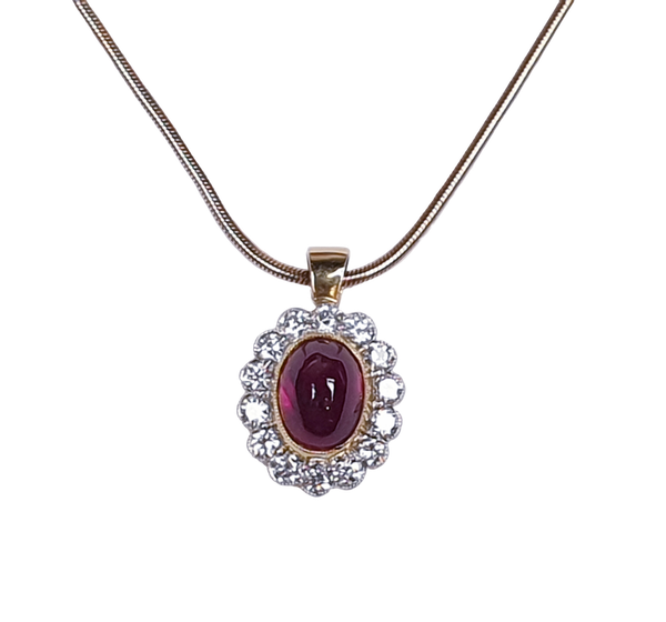Cabochon Ruby and Diamond Cluster Pendant  DBGEMS - image 1