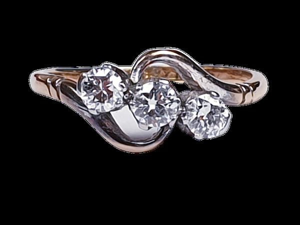 Edwardian Three Stone Diamond Ring 2190  DBGEMS - image 1