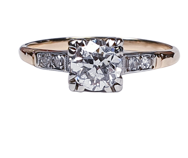 Art Deco Diamond and Gold Engagement Ring 3402  DBGEMS - image 1
