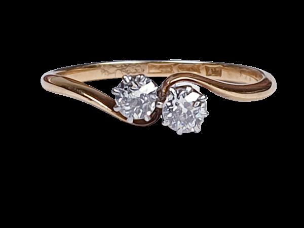 Edwardian Diamond Cross Over Ring 1852  DBGEMS - image 1