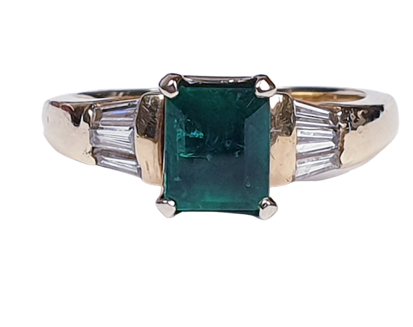 Emerald and Baguette Diamond Ring 1661  DBGEMS - image 1