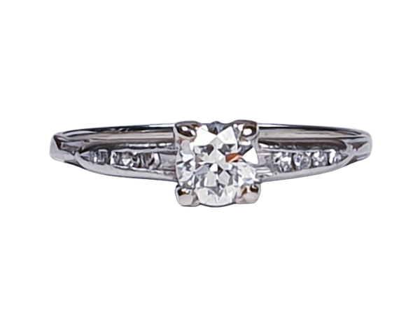 Transitional Diamond Art Deco Engagement Ring 1666  DBGEMS - image 1
