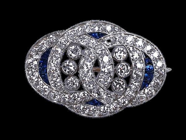 Art Deco Sapphire and Diamond Brooch  DBGEMS - image 1