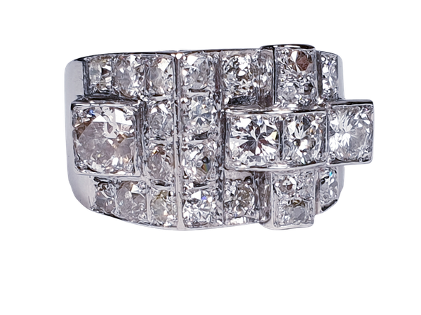 Cool sculptural architectural diamond art deco ring  DBGEMS - image 1