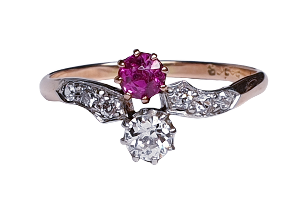Edwardian Ruby and Diamond Cross Over Ring  DBGEMS - image 7