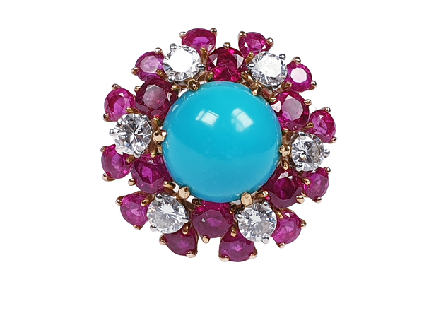 1960's Turquoise ruby and diamond dress ring  DBGEMS - image 7
