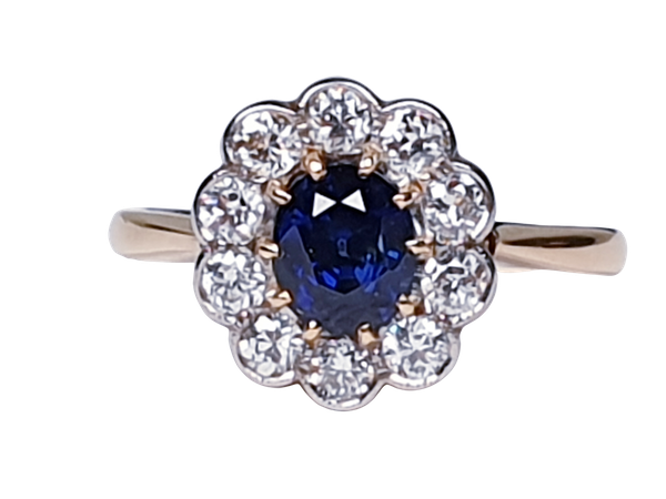 19th century antique sapphire and diamond cluster engagement ring  DBGEMS - image 7