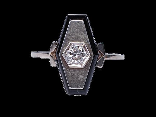 French Onyx and Diamond Lozenge Engagement Ring  DBGEMS - image 6