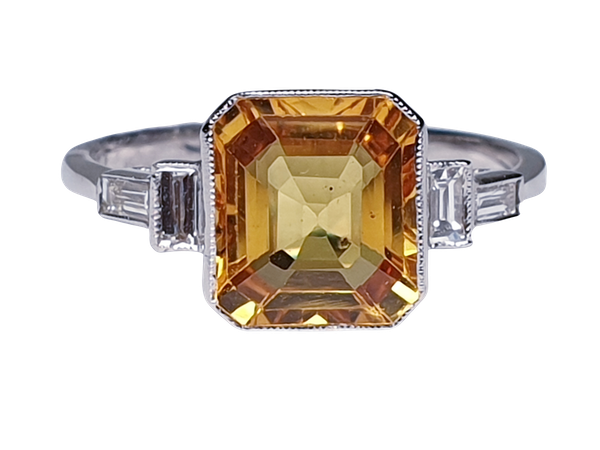 Yellow sapphire and diamond engagement ring  DBGEMS - image 6