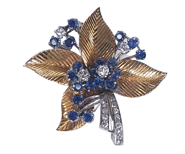 1940's Sapphire and diamond bouquet brooch  DBGEMS - image 4