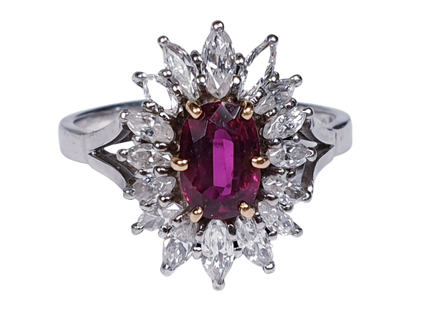 Ruby and Marquise Diamond Cluster Ring  DBGEMS - image 6