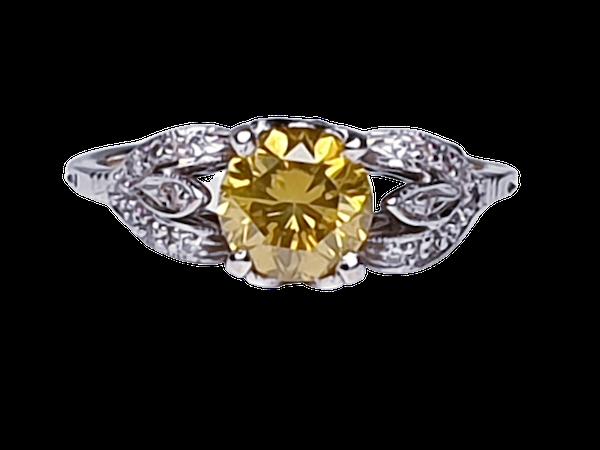 yellow diamond engagement ring  DBGEMS - image 6