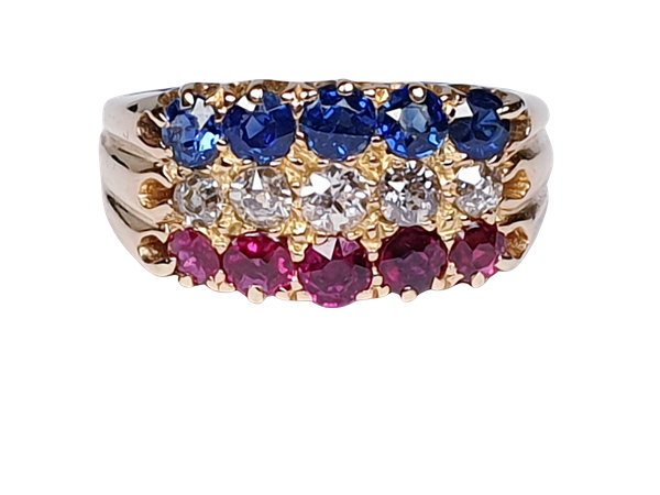 Antique three row sapphire diamond and ruby ring  DBGEMS - image 5