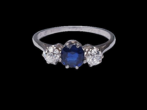 Sapphire and diamond engagement ring  DBGEMS - image 3