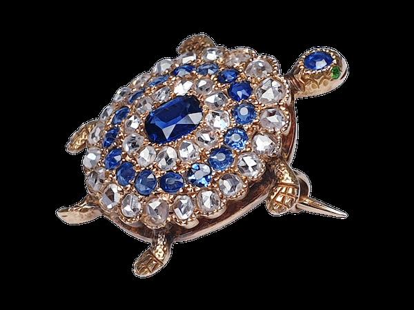 Antique sapphire and diamond turtle brooch  DBGEMS - image 6