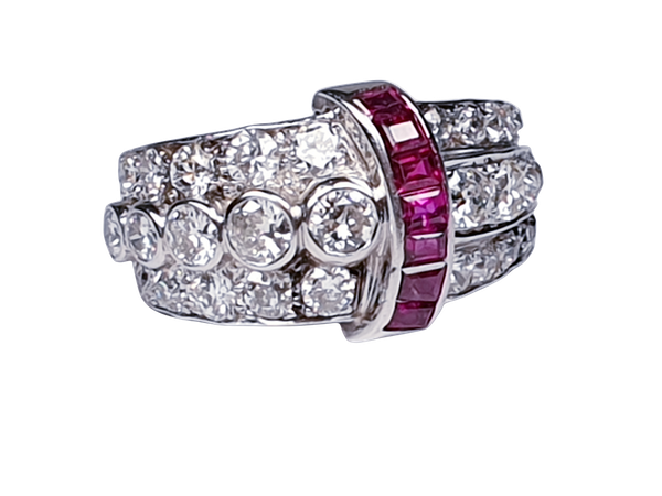 art deco diamond and ruby dress ring  DBGEMS - image 7