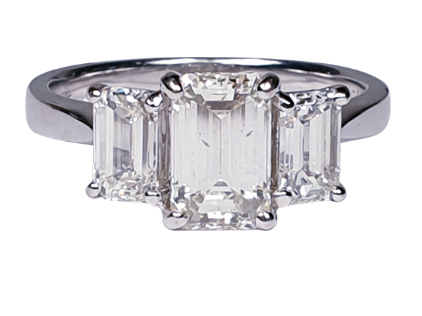 Emerald cut diamond and baguette three stone ring  DBGEMS - image 6