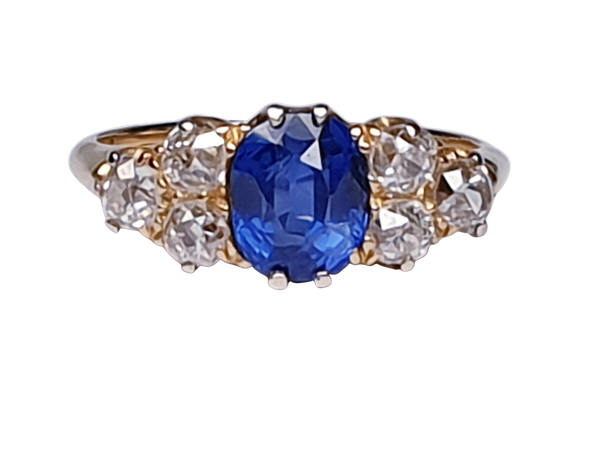 Electric ceylon sapphire and old mine cut diamond engagement ring  DBGEMS - image 6