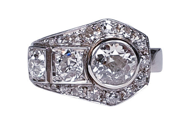 Art deco diamond dress ring  DBGEMS - image 6