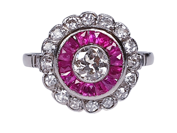 Art Deco Ruby and Diamond Target Ring  DBGEMS - image 5