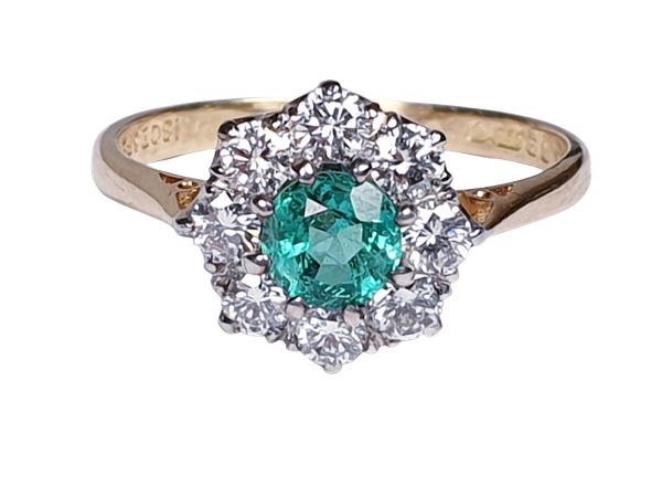 Bright fresh emerald and diamond engagement ring  DBGEMS - image 5
