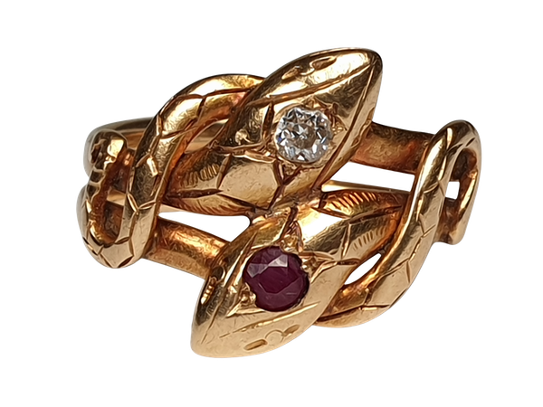 Antique ruby and diamond snake ring  DBGEMS - image 5
