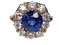 Large sapphire and diamond cluster engagement ring  DBGEMS - image 5